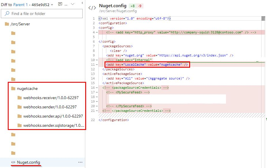 Screenshot showing Nuget.config file with local Nuget feed