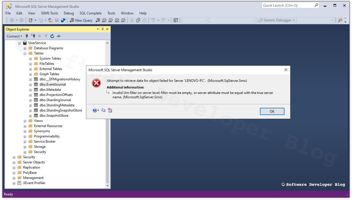MSSMS screenshot with invalid urn filter Message box