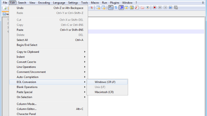 Notepad++ screenshot with Unix EOL conversion option shown